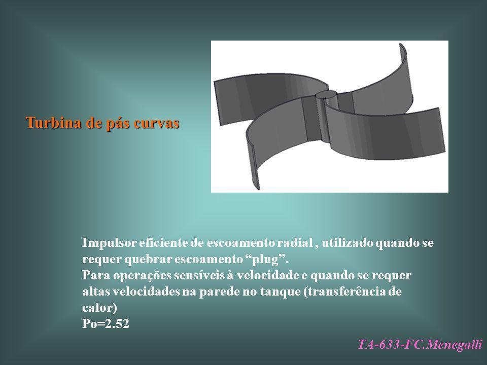 Turbina de pás curvas Impulsor eficiente de escoamento radial , utilizado quando se requer quebrar escoamento plug .