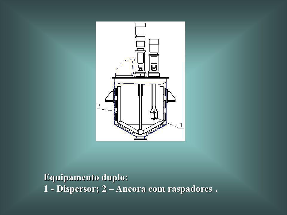 Equipamento duplo: 1 - Dispersor; 2 – Ancora com raspadores .