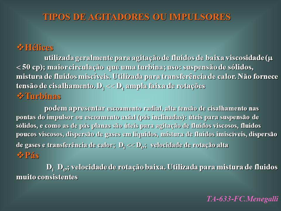 TIPOS DE AGITADORES OU IMPULSORES