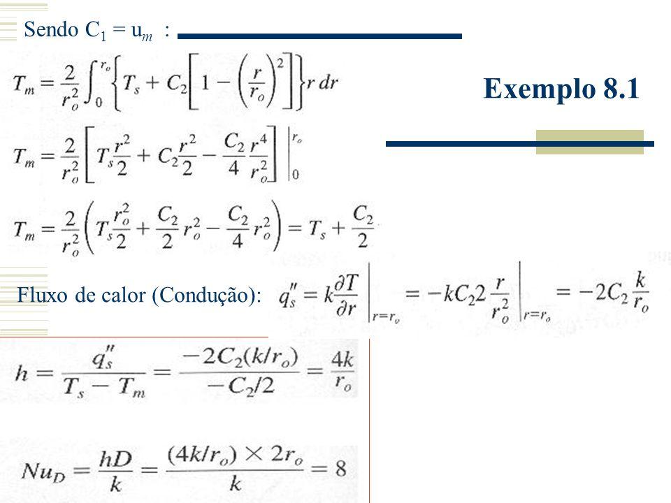 Sendo C1 = um : Exemplo 8.1 Fluxo de calor (Condução):