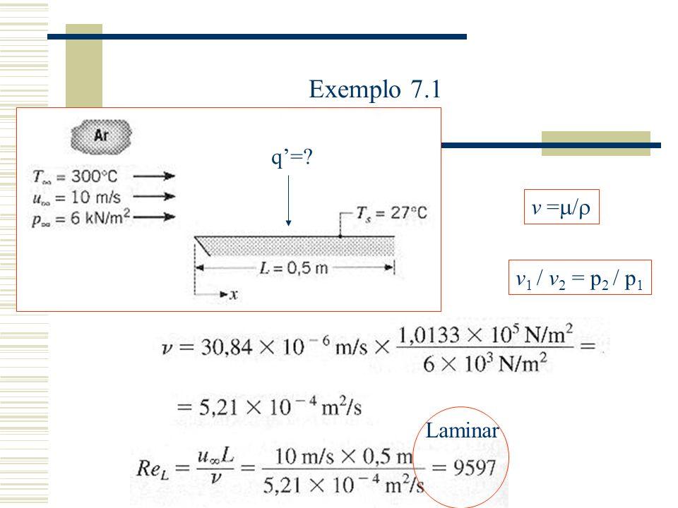 Exemplo 7.1 q'= v1 / v2 = p2 / p1 v =/ Laminar