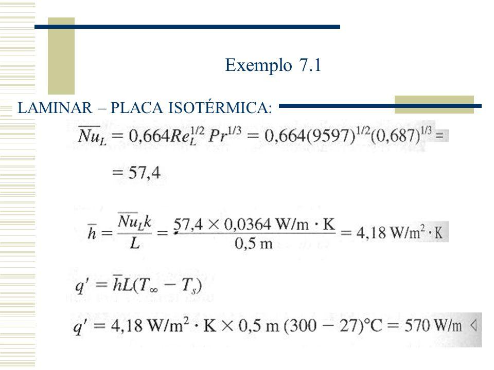 Exemplo 7.1 LAMINAR – PLACA ISOTÉRMICA: