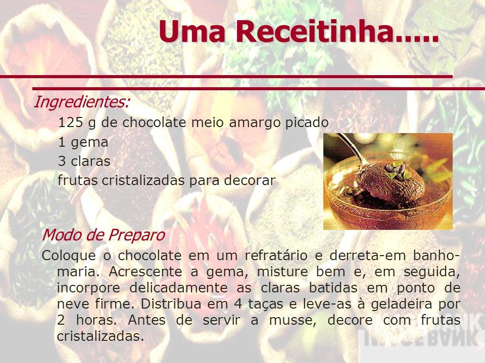 Uma Receitinha..... Ingredientes: Modo de Preparo