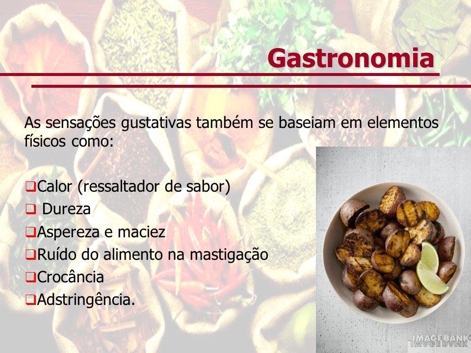 Gastronomia As sensações gustativas também se baseiam em elementos físicos como: Calor (ressaltador de sabor)