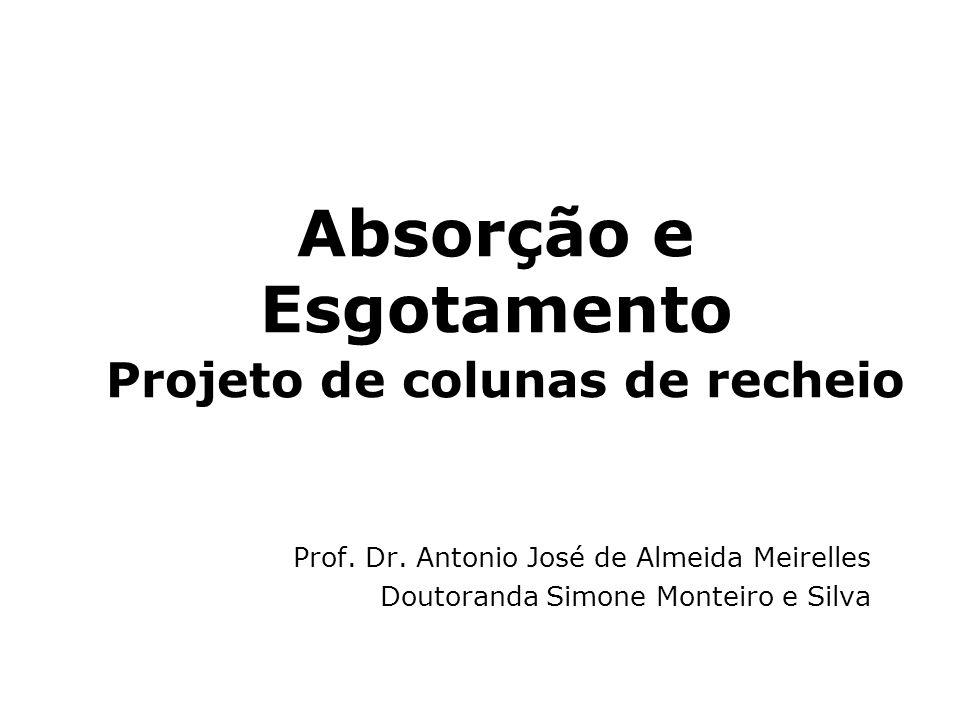 Absorção e Esgotamento Projeto de colunas de recheio