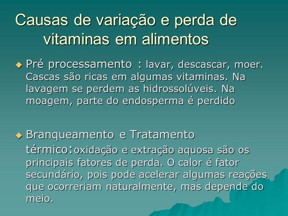 Causas de variação e perda de vitaminas em alimentos