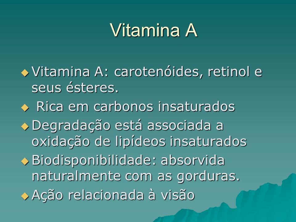 Vitamina A Vitamina A: carotenóides, retinol e seus ésteres.