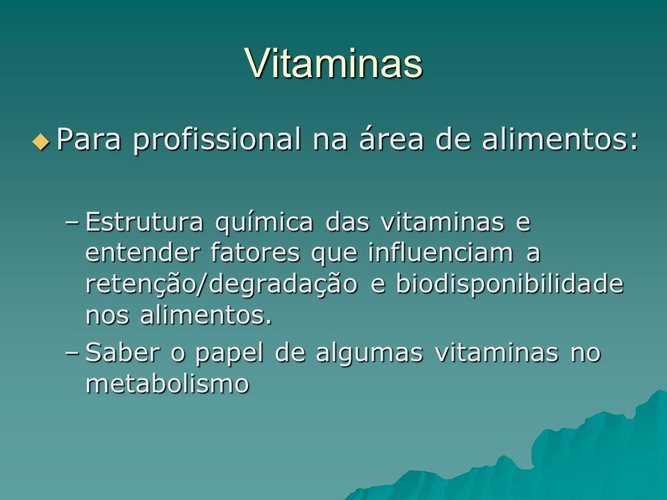 Vitaminas Para profissional na área de alimentos: