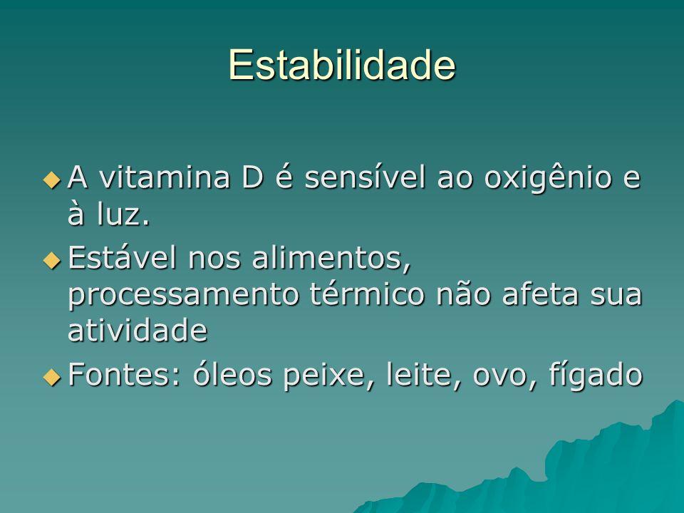 Estabilidade A vitamina D é sensível ao oxigênio e à luz.