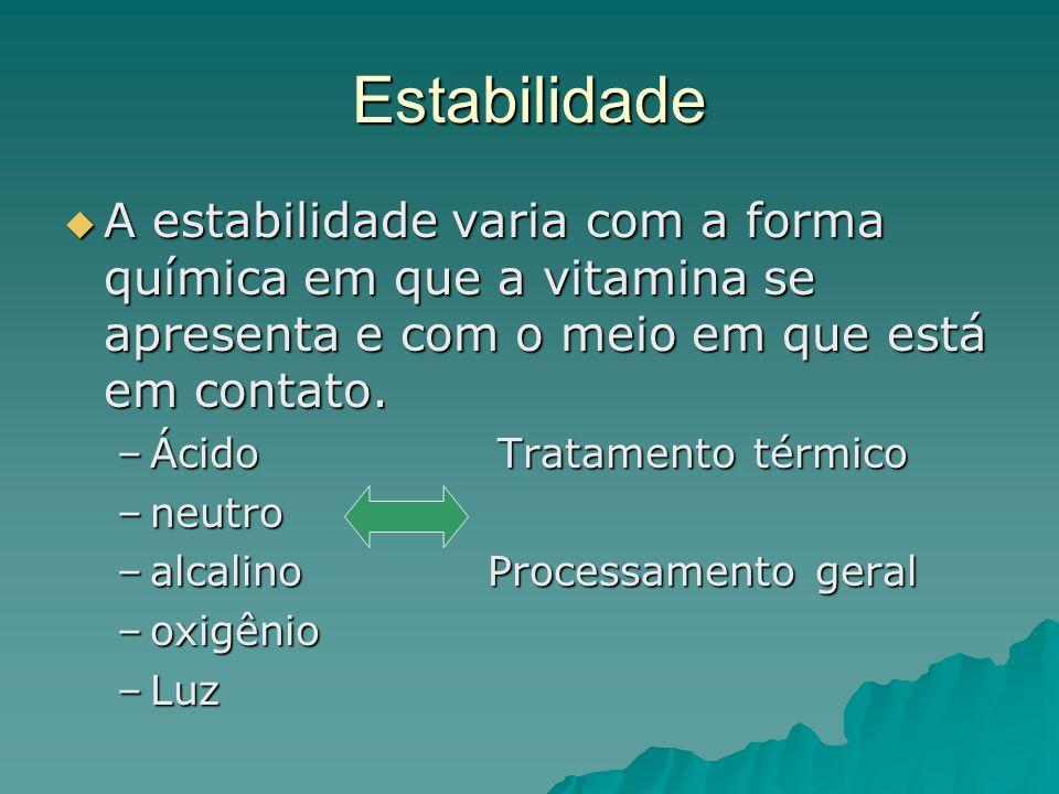 Estabilidade A estabilidade varia com a forma química em que a vitamina se apresenta e com o meio em que está em contato.