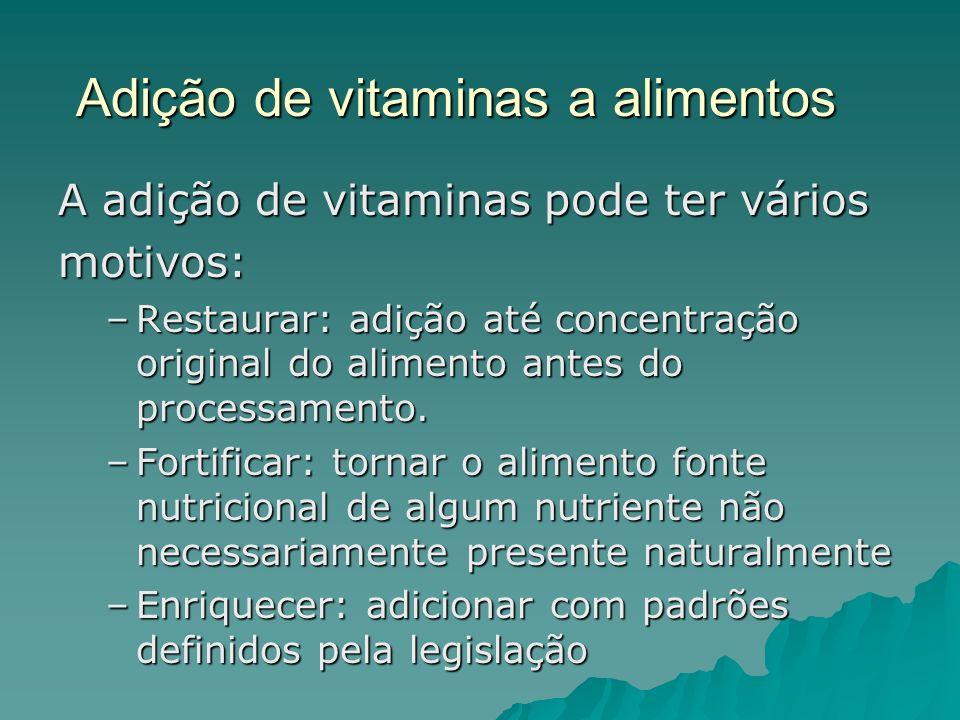 Adição de vitaminas a alimentos