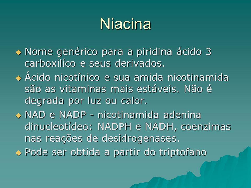 Niacina Nome genérico para a piridina ácido 3 carboxilíco e seus derivados.
