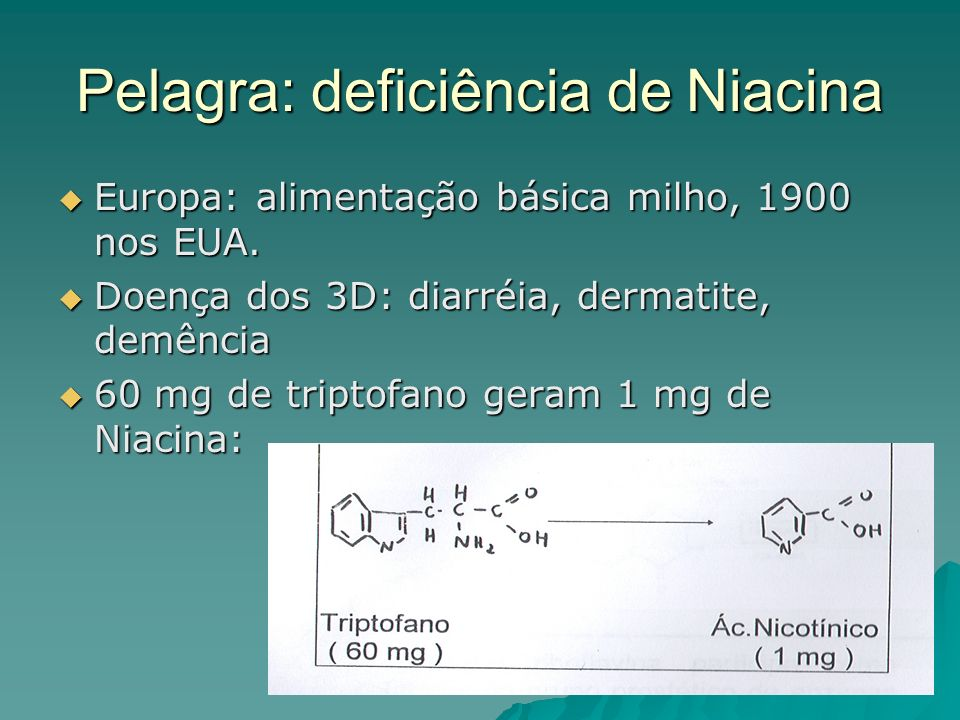 Pelagra: deficiência de Niacina