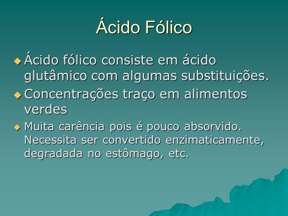 Ácido Fólico Ácido fólico consiste em ácido glutâmico com algumas substituições. Concentrações traço em alimentos verdes.