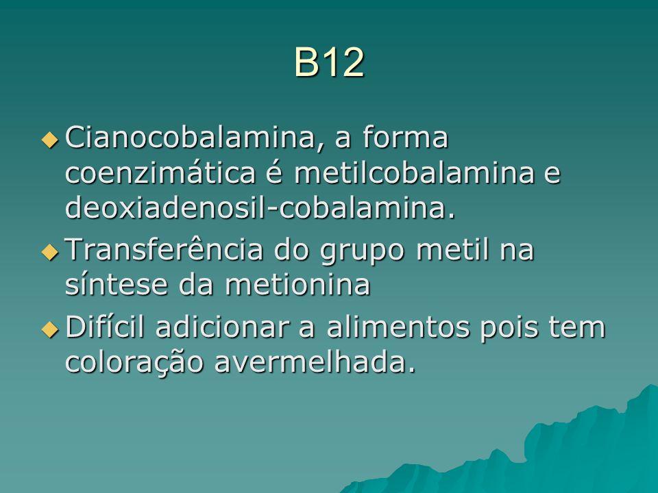 B12Cianocobalamina, a forma coenzimática é metilcobalamina e deoxiadenosil-cobalamina. Transferência do grupo metil na síntese da metionina.