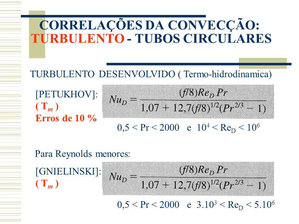 CORRELAÇÕES DA CONVECÇÃO: TURBULENTO - TUBOS CIRCULARES
