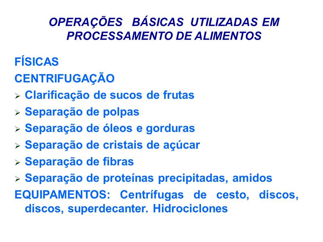 OPERAÇÕES BÁSICAS UTILIZADAS EM PROCESSAMENTO DE ALIMENTOS