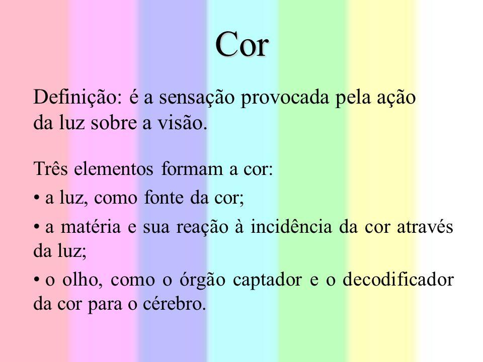 Cor Definição: é a sensação provocada pela ação da luz sobre a visão.