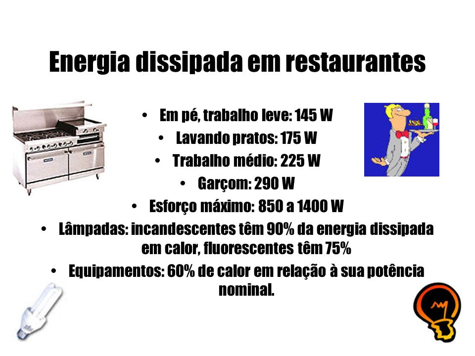 Energia dissipada em restaurantes