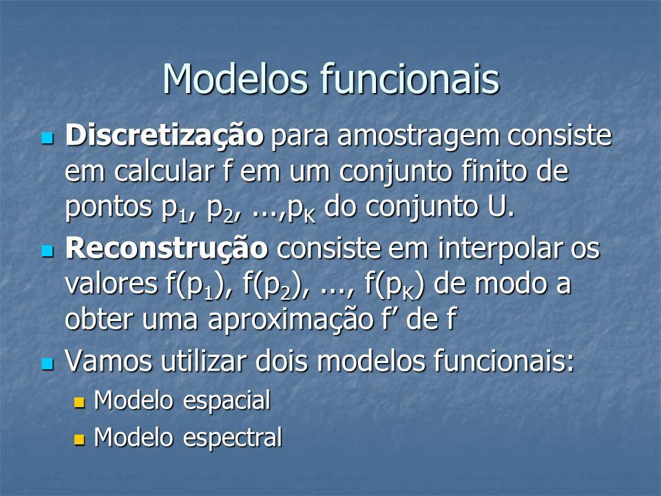 Modelos funcionais Discretização para amostragem consiste em calcular f em um conjunto finito de pontos p1, p2, ...,pK do conjunto U.