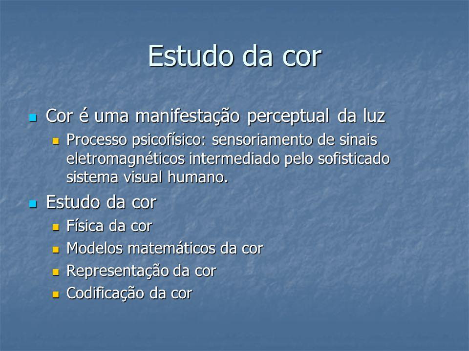 Estudo da cor Cor é uma manifestação perceptual da luz Estudo da cor