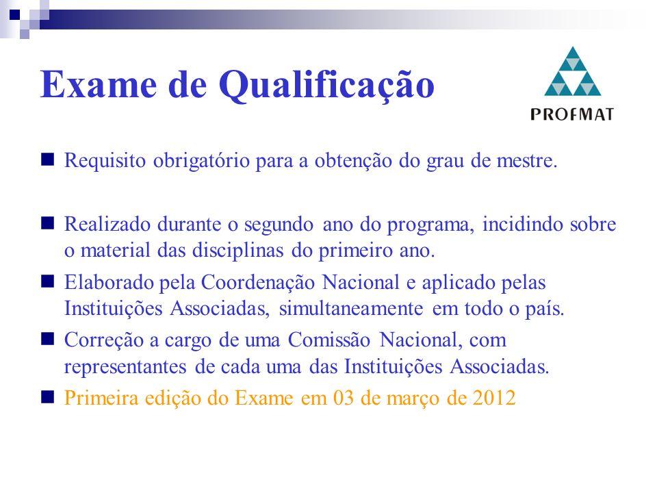 Exame de Qualificação Requisito obrigatório para a obtenção do grau de mestre.