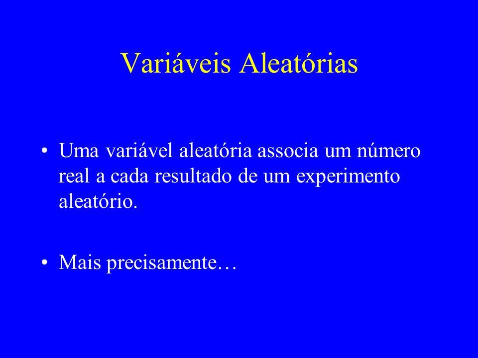 Variáveis AleatóriasUma variável aleatória associa um número real a cada resultado de um experimento aleatório.