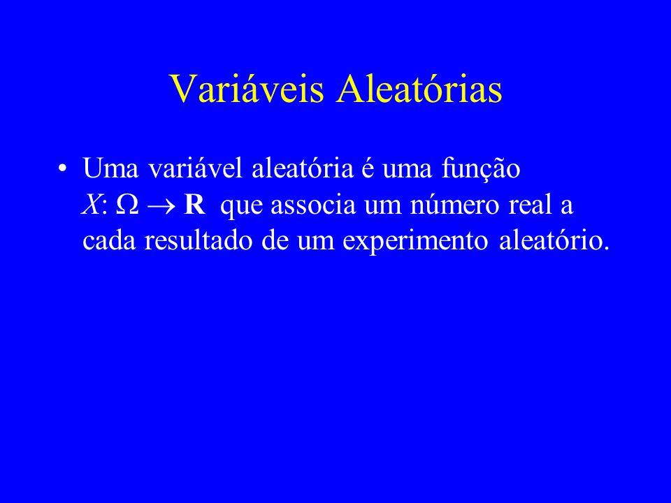 Variáveis Aleatórias Uma variável aleatória é uma função X: W  R que associa um número real a cada resultado de um experimento aleatório.
