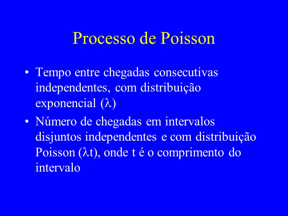 Processo de PoissonTempo entre chegadas consecutivas independentes, com distribuição exponencial (l)