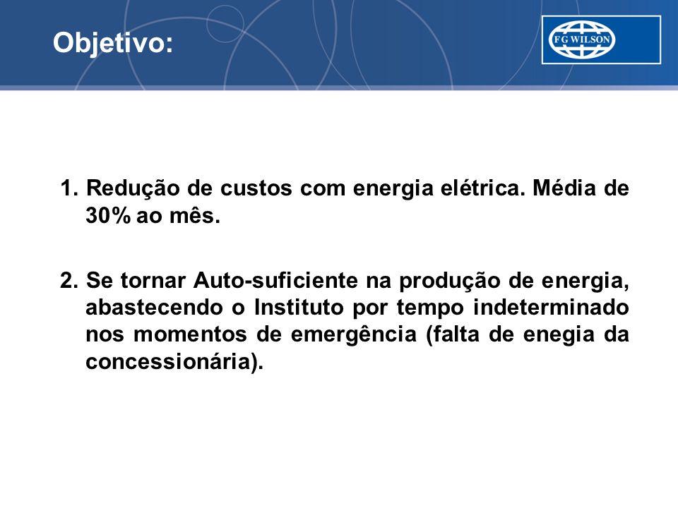 Objetivo: 1. Redução de custos com energia elétrica. Média de 30% ao mês.