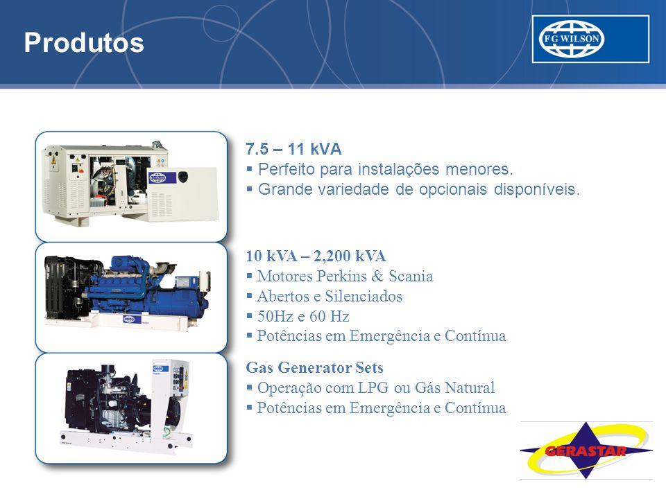 Produtos 5.5 kVA a 2,200 kVA. 7.5 – 11 kVA. Perfeito para instalações menores. Grande variedade de opcionais disponíveis.