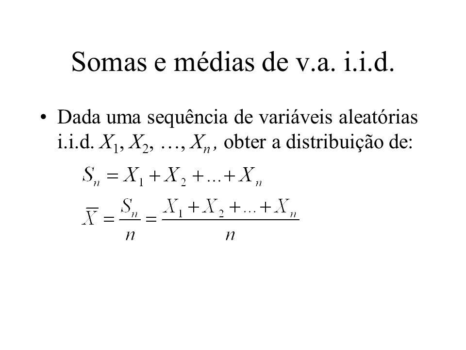 Somas e médias de v.a. i.i.d. Dada uma sequência de variáveis aleatórias i.i.d.