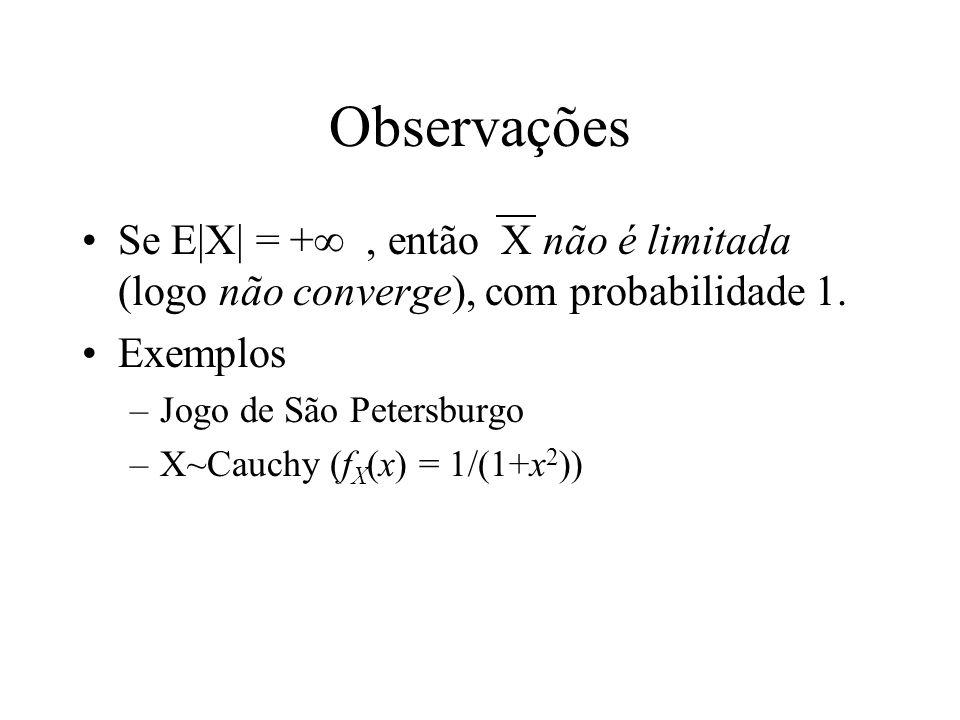 Observações Se E|X| = + , então X não é limitada (logo não converge), com probabilidade 1. Exemplos.