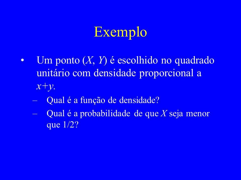 Exemplo Um ponto (X, Y) é escolhido no quadrado unitário com densidade proporcional a x+y. Qual é a função de densidade