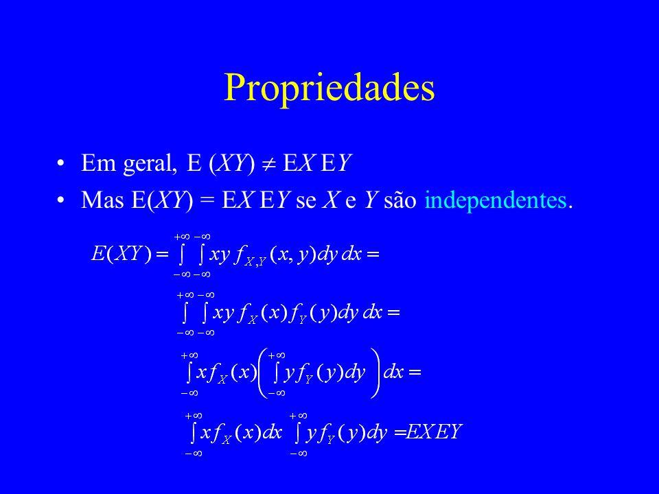 Propriedades Em geral, E (XY)  EX EY