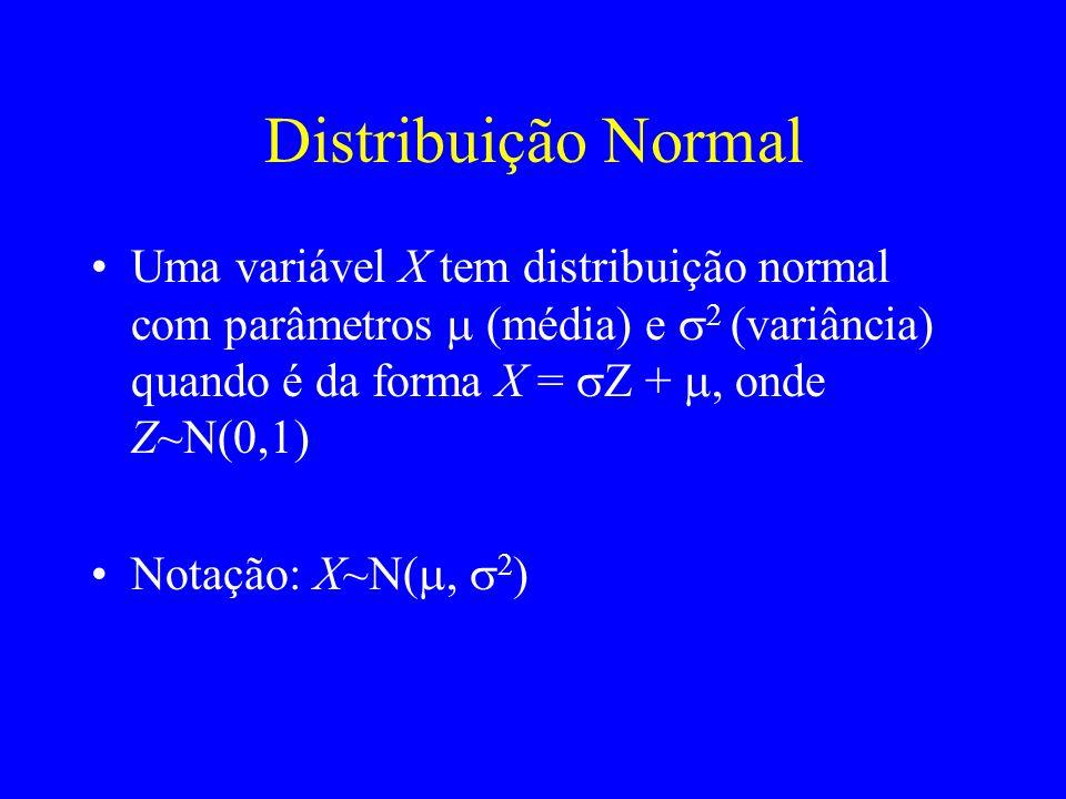 Distribuição Normal Uma variável X tem distribuição normal com parâmetros m (média) e s2 (variância) quando é da forma X = sZ + m, onde Z~N(0,1)