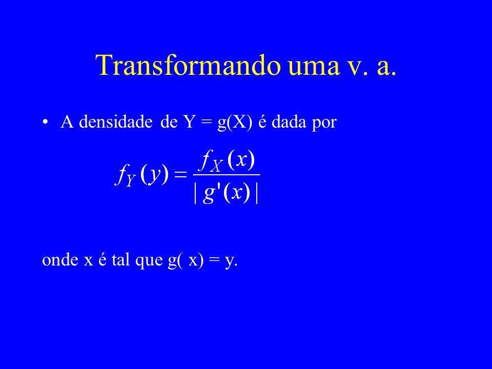 Transformando uma v. a. A densidade de Y = g(X) é dada por