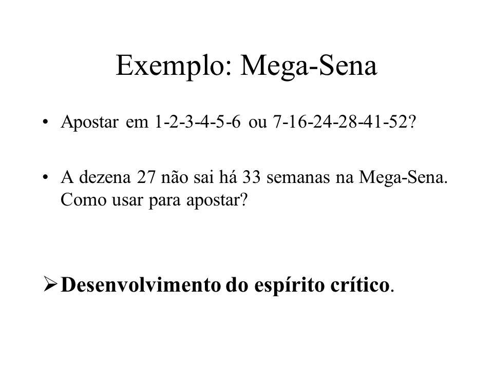 Exemplo: Mega-Sena Desenvolvimento do espírito crítico.