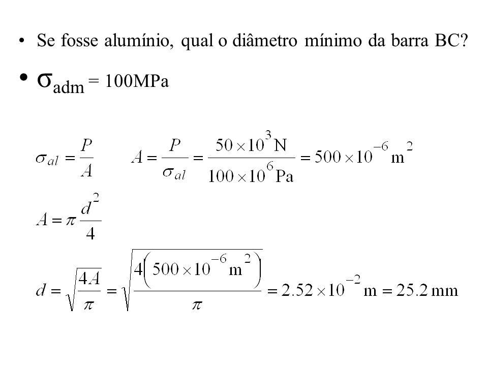 Se fosse alumínio, qual o diâmetro mínimo da barra BC