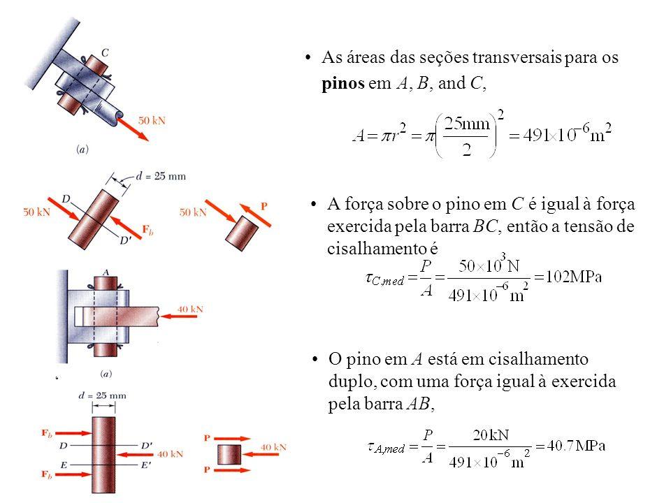As áreas das seções transversais para os pinos em A, B, and C,