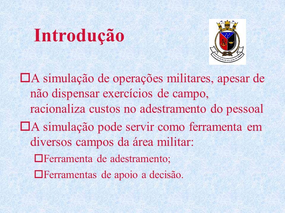 IntroduçãoA simulação de operações militares, apesar de não dispensar exercícios de campo, racionaliza custos no adestramento do pessoal.