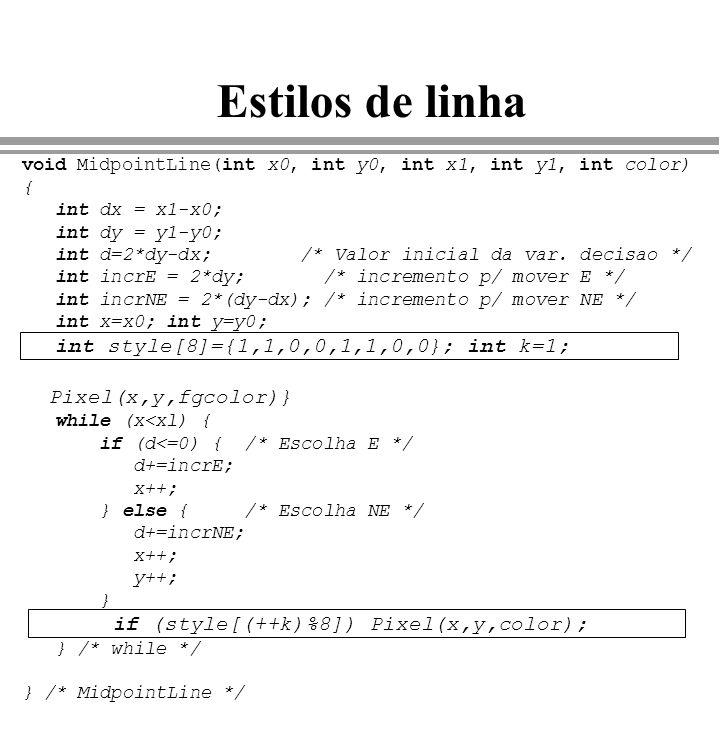Estilos de linha Pixel(x,y,fgcolor)}