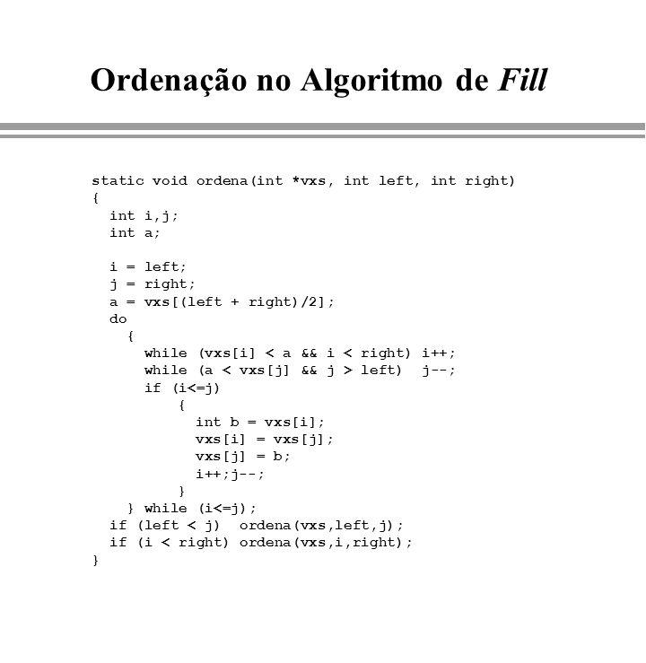 Ordenação no Algoritmo de Fill