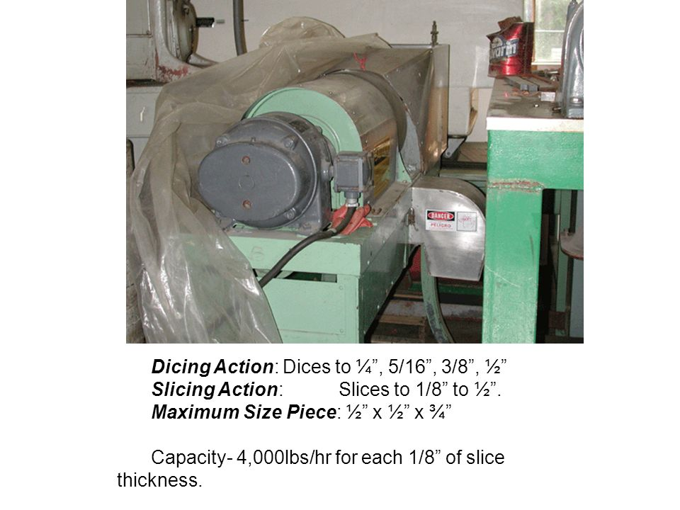 Dicing Action: Dices to ¼ , 5/16 , 3/8 , ½