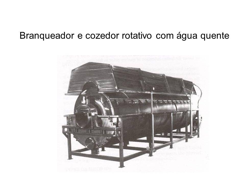 Branqueador e cozedor rotativo com água quente