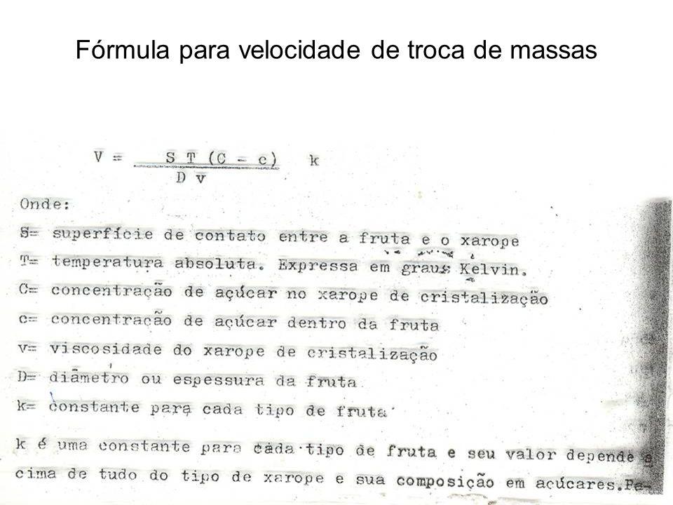 Fórmula para velocidade de troca de massas