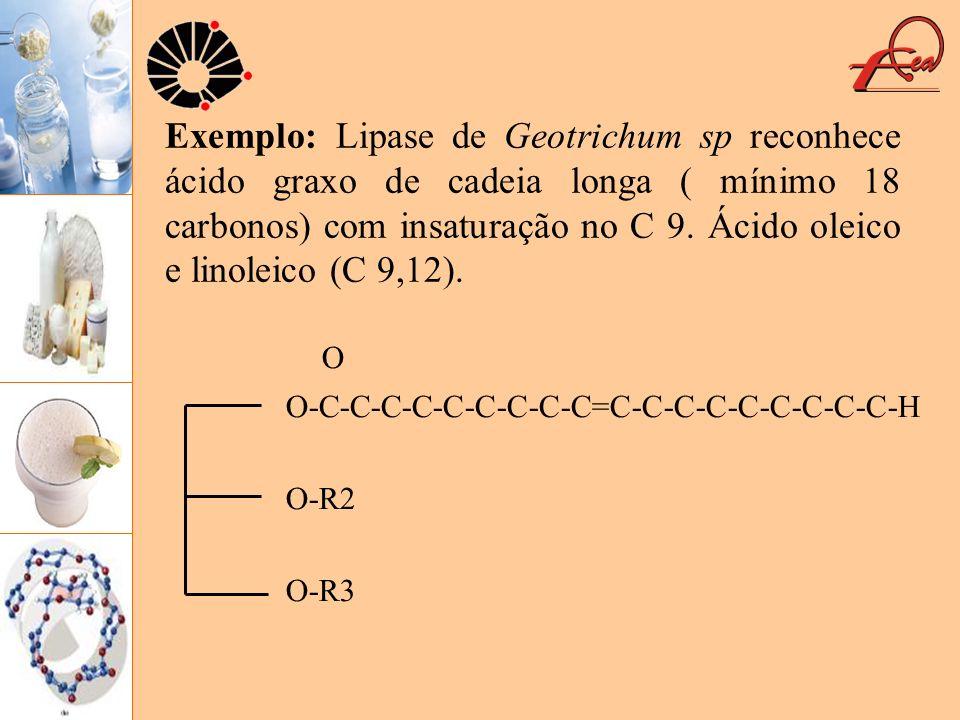 Exemplo: Lipase de Geotrichum sp reconhece ácido graxo de cadeia longa ( mínimo 18 carbonos) com insaturação no C 9. Ácido oleico e linoleico (C 9,12).