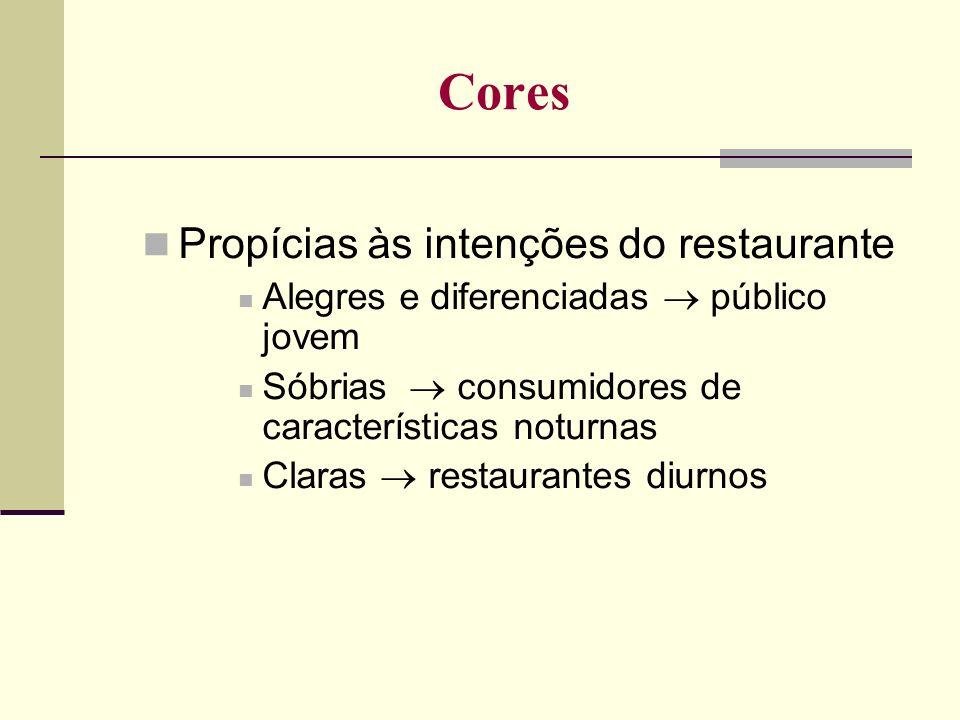 Cores Propícias às intenções do restaurante