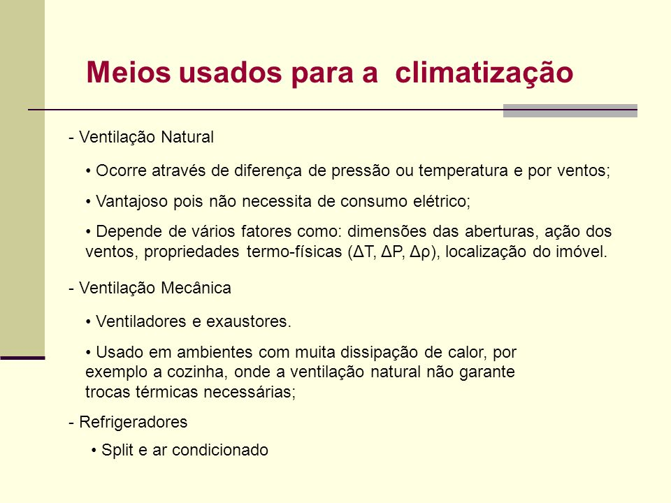 Meios usados para a climatização