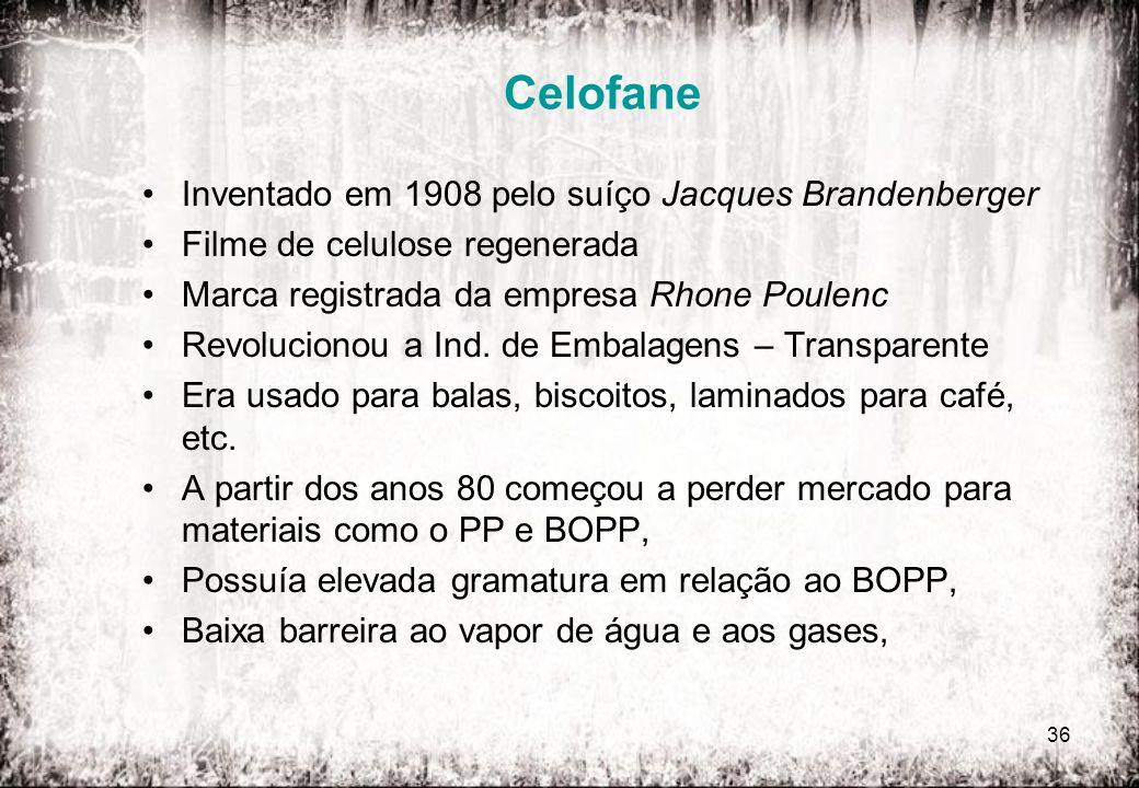 Celofane Inventado em 1908 pelo suíço Jacques Brandenberger